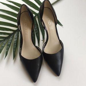 Aldo Black snakeskin heels